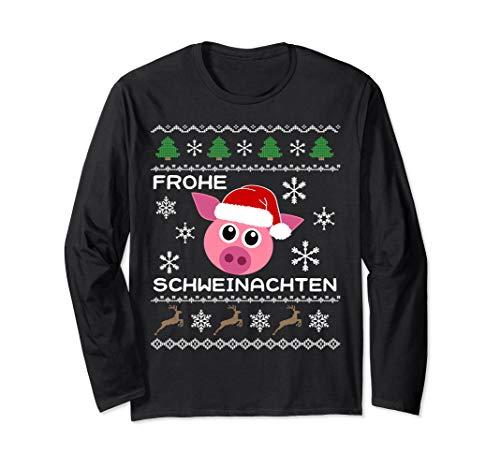 Frohe Schweinachten Weihnachten Schwein Ugly Christmas Langarmshirt