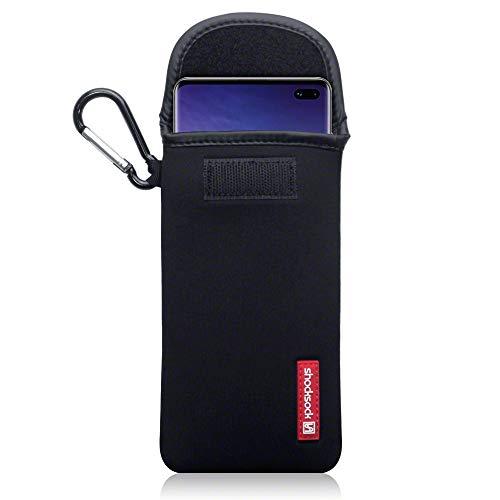 shocksock, Kompatibel mit Samsung Galaxy S10 Plus Neopren Tasche mit Carabiner Hülle - Schwarz