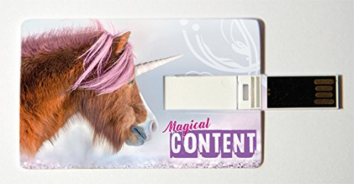 Witziger USB Stick im Visitenkartenformat, Scheckkarte, Kreditkarte, 4 GB, Einhorn, Magical Content, ideal als Datenspeicher oder Geschenk