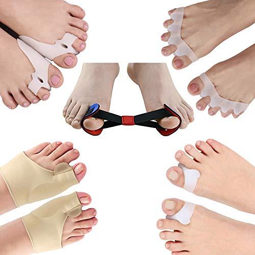 Anself - Juego de 9 separadores de dedo gordo para juanetes, martillo, espaciadores de dedos, protector de juanetes, alivio del dolor, herramienta de cuidado de pies para hombres y mujeres