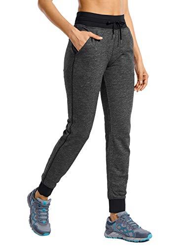 CRZ YOGA Mujer Pantalones de Chándal con Cordón Pants de Entrenamiento con Cintura Elástica Pantalones de Jogging con Bolsillos Gris Melange 40