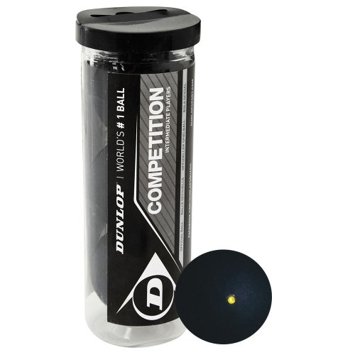 Dunlop Sports Competition Squash Ball, Single Yellow Dot, 3-Ball Tube