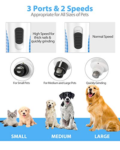 Peteast Dog Nail Grinder, Upgraded LED Lighting 2-Speed Nail Clippers USB Powerful Electric Nail Trimmer Paws Grooming Trimming for S/M/L Dogs Pets, 2 Grinding Wheels