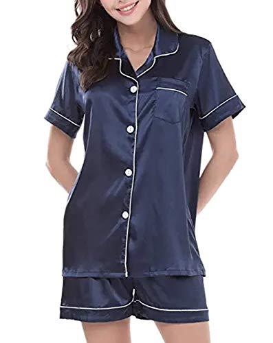 GAESHOW - Set pigiama da donna in raso effetto seta, a maniche corte, con abbottonatura, abbigliamento per relax, completo composto da due pezzi, S-2XL Blu L