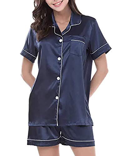 GAESHOW Silk PJ Sets for Women,Short Sleeve Satin Pajamas Set Two Piece Pj Sets Button-Down Night Suit Sleepwear Loungewear S~3XL Blue