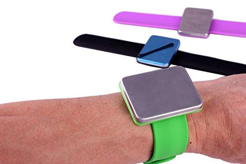 2 bracelets magnétiques en silicone pour épingles à cheveux, clips et accessoires
