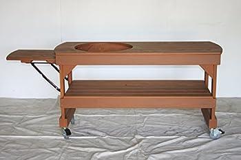 J S Designs Shop LLC Big Green Egg Long Cypress Table for Large BGE Grill with Free Drop Leaf Shelf