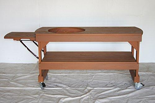 J S Designs Shop, LLC Big Green Egg Long Cypress Table for Large BGE Grill with Free Drop Leaf Shelf