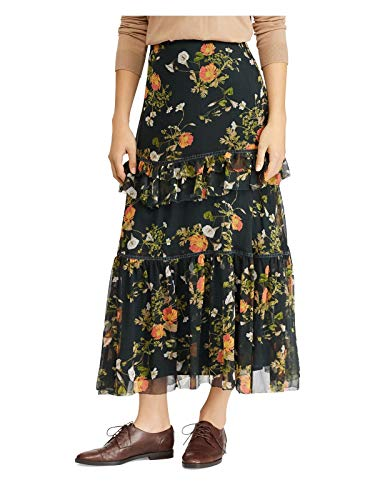 LAUREN RALPH LAUREN Womens Laucar Floral Print Peasant, Boho Skirt Green 2
