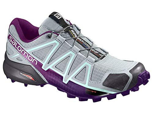 Salomon Speedcross 4 W, Scarpe da Trail Running Donna, Grigio (Quarry/Acai/Fair Aqua), 39 1/3 EU