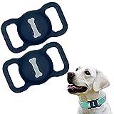 Funda de Silicona Compatible con el Collar para Mascotas Airtag, Funda Protectora Airtag, Estuche buscador GPS portátil Ajustable para Collar de Perro y Gato 2 Piezas (2-Azul Oscuro)