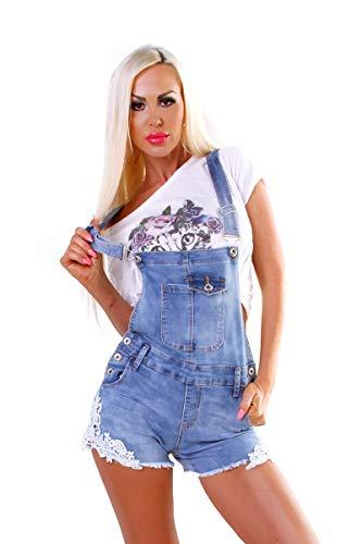 OSAB-Fashion 5392 Damen Latzjeans Latzshorts Hotpants Jeans Shorts Kurze Hose Spitze Fransensaum