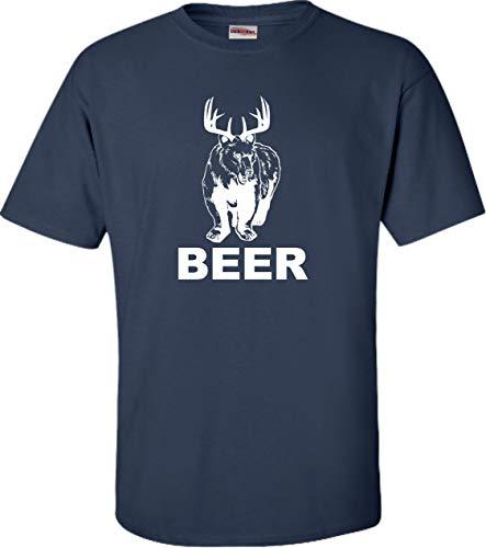 Go All Out Medium Navy Blue Adult Bear + Deer = Beer T-Shirt