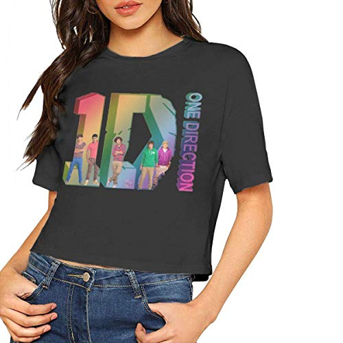 Womens One-Direction Short Sleeve Crop Tops T-Shirts Black