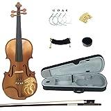Kinglos 4/4 Drachen Geschnitzten Ebenholz Beschläge Massivholz Violine Geige mit Harten Fall, Schulterstütze, Bogen, Kolophonium, Brücke und Saiten