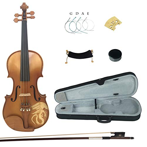 Kinglos 4/4 Dragon Carved Ebony Fitted Solid Wood Violin Kit with Case, Shoulder Rest, Bow, Rosin, Extra Bridge and Strings Full Size (LONG006)