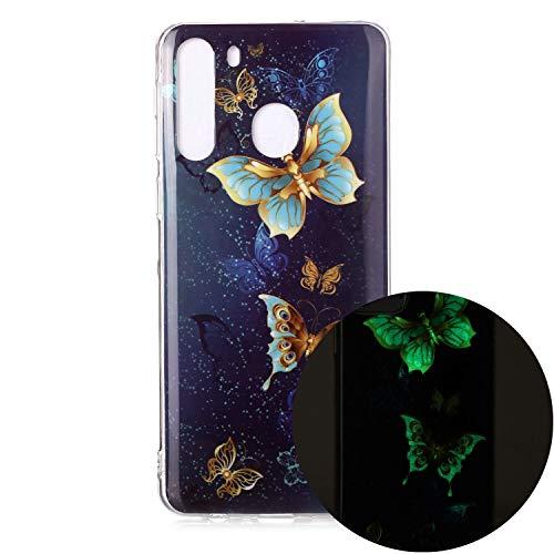 Miagon Leuchtend Luminous Hülle für Samsung Galaxy A21,Fluoreszierend Licht im Dunkeln Handyhülle Silikon Case Handytasche Stoßfest Schutzhülle,Gold Schmetterling