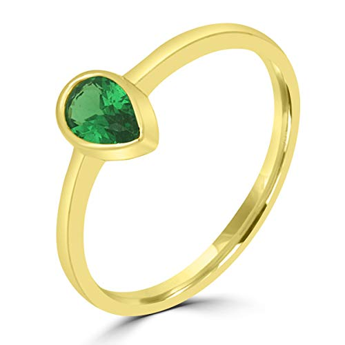 Aion Gold Tropfen Tear Ring 585 Damenring Gelbgold 14K Grüne Stein 48-58 55 (17,5 mm Ø)