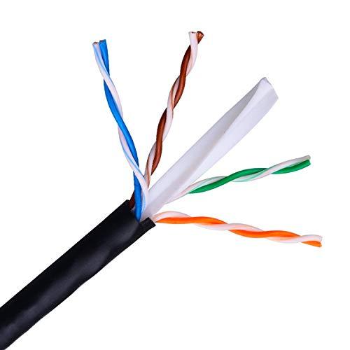 AISENS A135-0263 - Cable de Red Exterior Impermeable RJ45 (Rígido AWG24, Bobina de 100 m para la Instalación, Resistente a los Rayos Ultravioleta) Color Negro