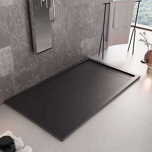 Luminosa ArredoBagno Plato de ducha Marmoresina de 70 x 130 cm, efecto piedra antideslizante con gelcoat, modelo Berlín, color negro, rejilla y desagüe incluidos