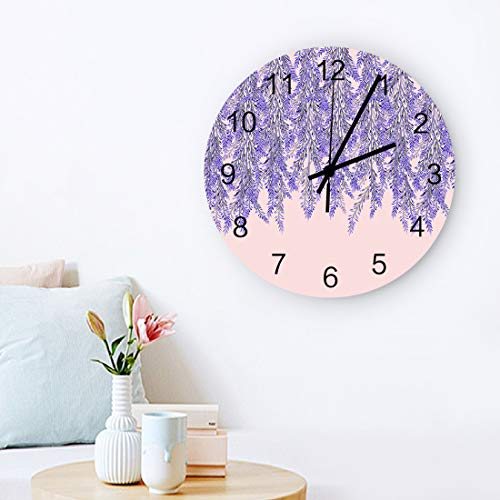 MuswannaA Round Wooden Wall Clock 12 Inch Floral Theme Lavender Sea Non Ticking Battery Operated Quartz Quiet Clock for Home,Office,School,Kitchen