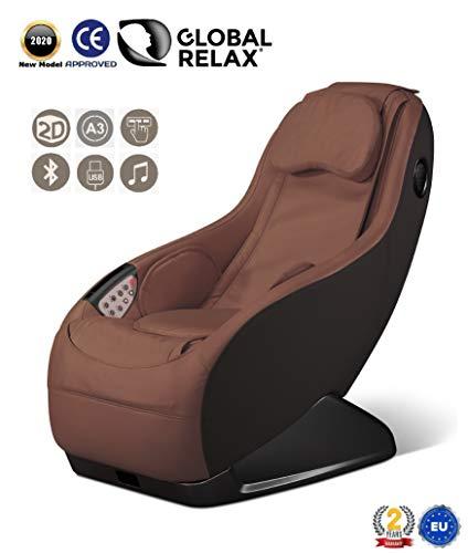 GURU® Massage- en relaxstoel - Bruin (model 2020) - 3 massagemodi - Surround sound shiatsu 2D - Massagestoel met Bluetooth en USB-systeem - Officiële garantie 2 jaar