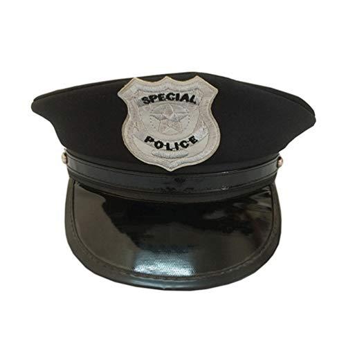 NUOBESTY Sombrero de Policía para Adultos Gorra de Policía Accesorios de Vestuario para Oficiales Gorra de Espectáculo para Fiesta Mascarada Cosplay
