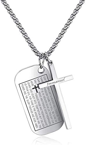 NC110 Jesús Cruz Colgante Regalo Biblia Texto Collar Estudiante Titanio Acero Letras Colgante Plata