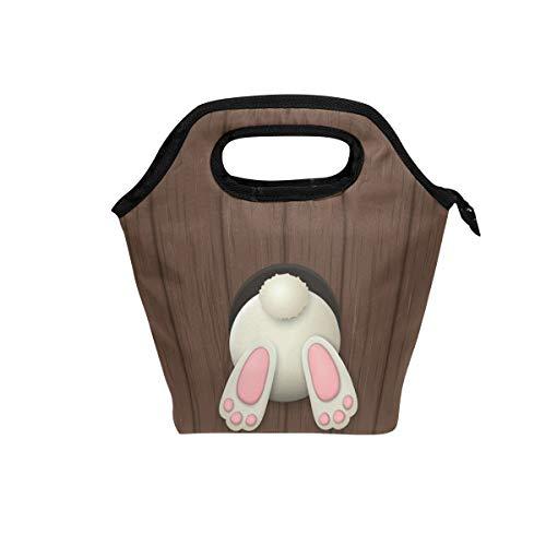 Ahomy Lunchtaschen Ostern Weiße Hase Boden Eier auf Holz Picknick Isolierte Kunst Lunch Box Tote Bag Kühltasche für Frauen Erwachsene Kinder