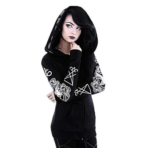 CAOQAO Damen Hohe QualitäT Herbst Winterjacke Party Oberteile Frauen Gothic Punk Langarm Kapuzen Print Black Cardigan Jacke Mantel Plus Size
