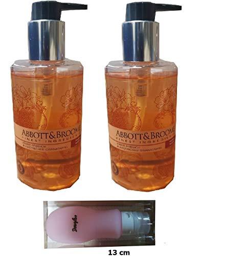 Abbott&Broome Handwash Set 2 x 300 ml Spender Pfirsich-Granatapfel + Silikonbehälter