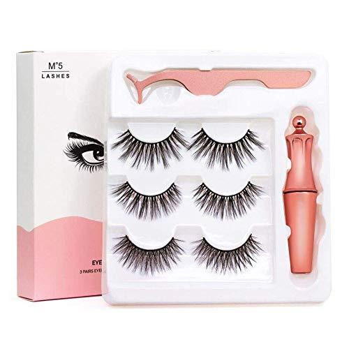 [3 Paar] Magnetische Wimpern, 3D Natürliches Magnetic Eyeliner-Kit, Eyeliner flüssiger schwarz und...