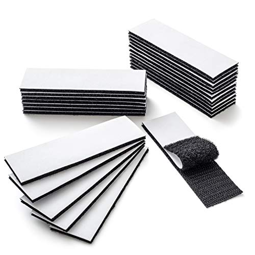 YBWM Self Adhesive Hook and Loop Tapes Heavy Duty Mounting Tapes Industrial Strength Fasteners Sticky Back Double Sided Strips for Home Office, Black, 3.9 x 1.2 Inch (24 Pcs)
