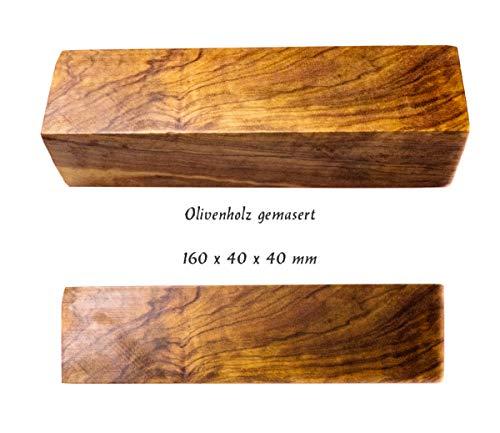ETU Online Olivenholz Kanteln Messerherstellung Drechselholz Griffrohlinge für Messer Edelholz Rohholz z.B. für Messergriffe oder gedrechselte Stifte 16x4x4 cm