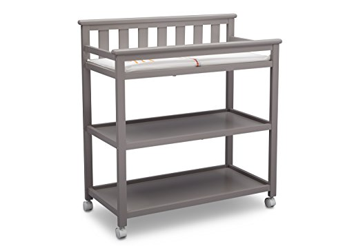 Delta Children Flat Top Changing Table with Wheels and Changing Pad, Grey