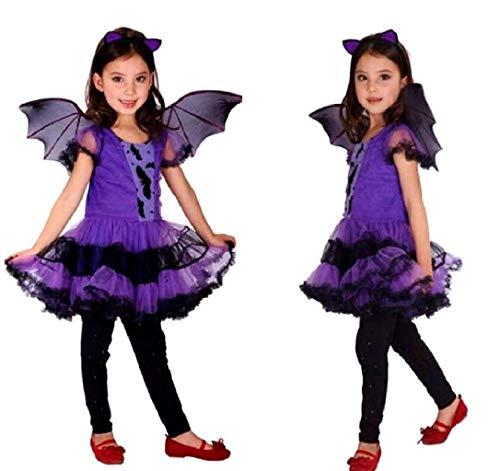 Vampirin-Kostüm für Mädchen, Karneval, Kostüm, Fledermaus Vampira Größe M 5 7 Jahre Verkleidung Halloween Cosplay tolles Geschenk für Weihnachten oder Geburtstag