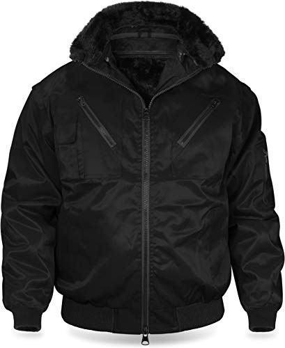 normani Winter Pilotenjacke mit herausnehmbarem Thermofutter und Faserpelz - robust und wasserabweisend - auch als Weste tragbar Farbe Schwarz Größe L