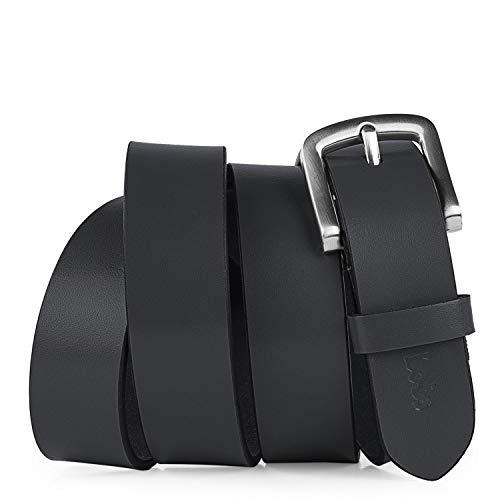 Lois - Cinturón de Cuero Piel Genuina con Hebilla Metálica. Resistente Flexible y Duradero. Caja para Regalo Original. Calidad y Diseño Exclusivo. Ancho 30 mm 49807, Color Negro