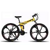 ASDF Folding Mountain Bike,Adulto Velocidad 26 Pulgadas Estudiante Bicicleta Choque Bicicleta-Seis Cuchillos Amarillos 24' 27 velocidades