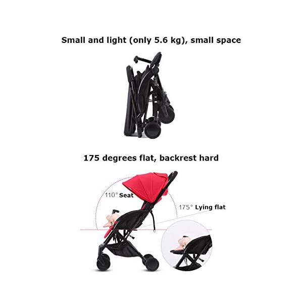 JXCC Double Strollers Baby Pram Tandem Buggy Newborn Pushchair with Adjustable Backrest- Black/Red -Safe And Stylish A JXCC 1. {Multi-angle adjustable}: You can sit down and adjust the angle from 0 to 175 degrees for all occasions. 2. {Light capsule car, detachable and separate}: Only 5.9kg, diamond car, can be on the plane, comfort zone baby, can be a single cart or can be combined into two cars 3. {Two-way implementation}: - Two-way implementation, switching parent-child mode 4