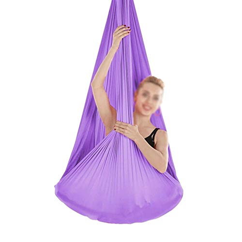 ZHJIUXING SF Indoor Therapy Swing Adjustable Aerial Yoga Hammock Sensory Hammock For Sensory Integration Up To 440lbs Ideal,Hanging Chair Stand, Light Purple, 150x280cm-59x110in