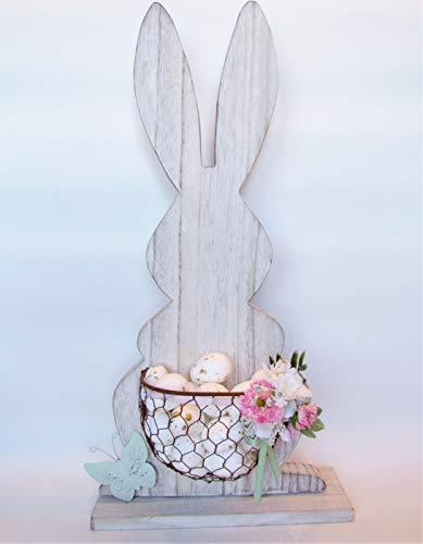 Osterhase aus Holz mit Körbchen und Blumenarrangement Osterdekoration Holzhase Eierkorb Frühling Standfigur Tausenschönchen Gänseblümchen