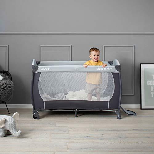 Hauck Sleep N Play Center Reisebett, 6-teiliges, ab Geburt bis 15 kg, inkl. Neugeborenen-Einhang, Schlupf, Wickelauflage, Rollen, Matratze, Tragetasche, höhenverstellbar, mobil & faltbar, Stein/Grau - 12