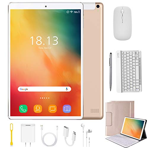 2 in 1 Tablets 10 Inch Android 9.0 with Keyboard Mouse, 4GB RAM+64GB ROM/128GB Upgrade Tablets, Dual SIM 4G, Quad Core, 13MP Dual Camera, 8000mAh, WiFi, GPS, Bluetooth, Google Store Phones (Gold)
