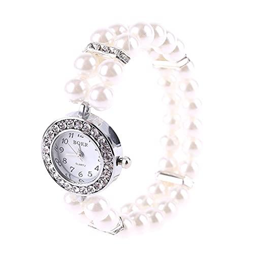 unknows Hero-s Reloj para Mujer Perla simulada Diamante de imitación de Lujo Elegante Muñequera Pulsera Joyería Regalos Señora Elastic Universal Charms Decoración Reloj de Pulsera Brazalete