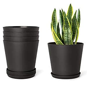 Mkono 5.5″ Plastic Planters with Trays, Indoor Set of 5 Flower Plant Pots Modern Decorative Gardening Pot with Drainage Hole for All House Plants, Herbs, Foliage Plant, and Seed Nursery, Black