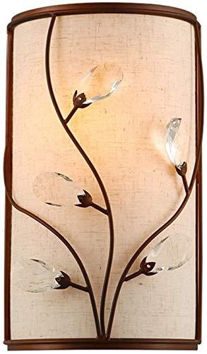 Lámparas de pared industriales, Luz de pared interior americano rural simple creativo moderno nuevo chino diseño labrado hierro de cristal tela lámpara de pared de sombra e27 zócalo para sala de estar