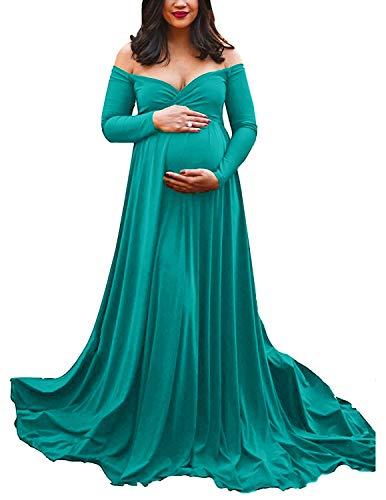 DISON Donna maternità Elegante Vestiti Fotografia Lungo Senza Spalline da Sposa per Servizio Fotografico Spiaggia Maxi Abiti Verde M