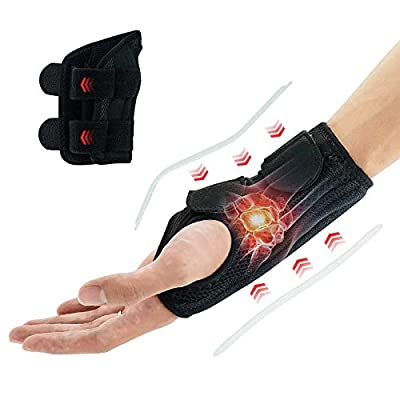 Carpal Tunnel Wrist Brace, TaiRun Wrist Brace Support Night Wrist Splint with Adjustable Straps for Bowling, Sports Working Hands, Left Hand for Women -M Size Black