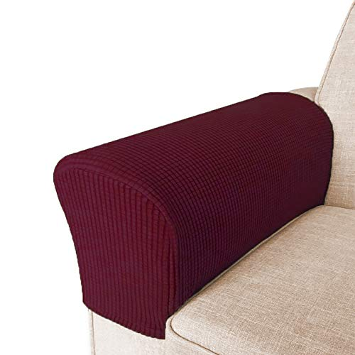 High Stretch Armrest Covers for Chairs and Sofas Spandex Jacquard Fabric Small Checks Armchair Covers for Arms Couch Arm Covers Armrest Covers for Sofa/Recliner Non Slip, Set of 2, Burgundy